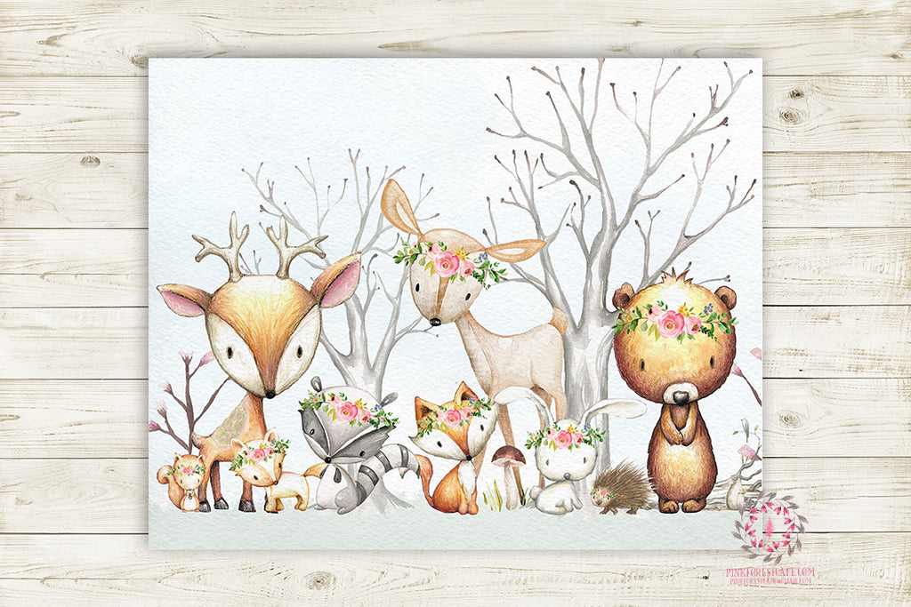 Woodland Animals Wall Art Print Boho Floral Deer Bunny Fox Bear Hedgehog Bohemian Watercolor Baby Girl Nursery Printable Decor