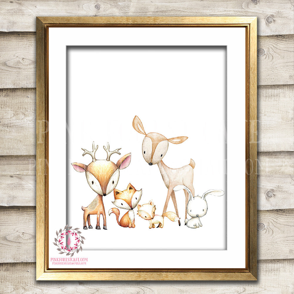 Fox Deer Bunny Rabbit Watercolor Woodland Boho Nursery Baby Room Printable Print Wall Art Decor