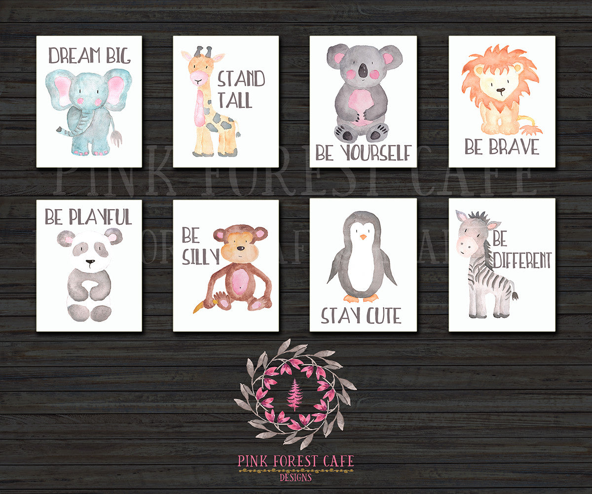 Set Lot of 8 ZOO Safari Nursery Kids Room Playroom Prints Zebra Lion Koala Elephant Penguin Panda Monkey Giraffe Gift Printable Wall Poster Sign Art Home Decor