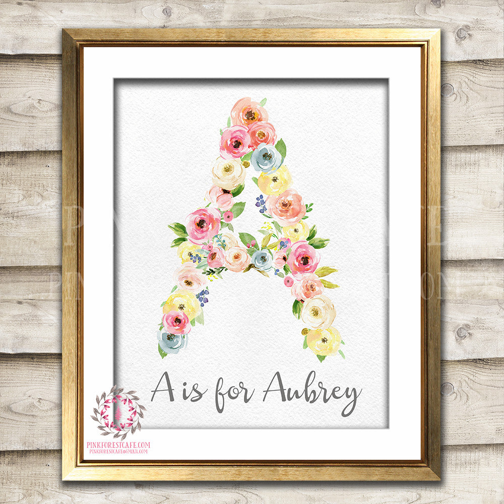 Monogram Initial Personalized Watercolor Floral Baby Nursery Decor Printable Wall Art Print