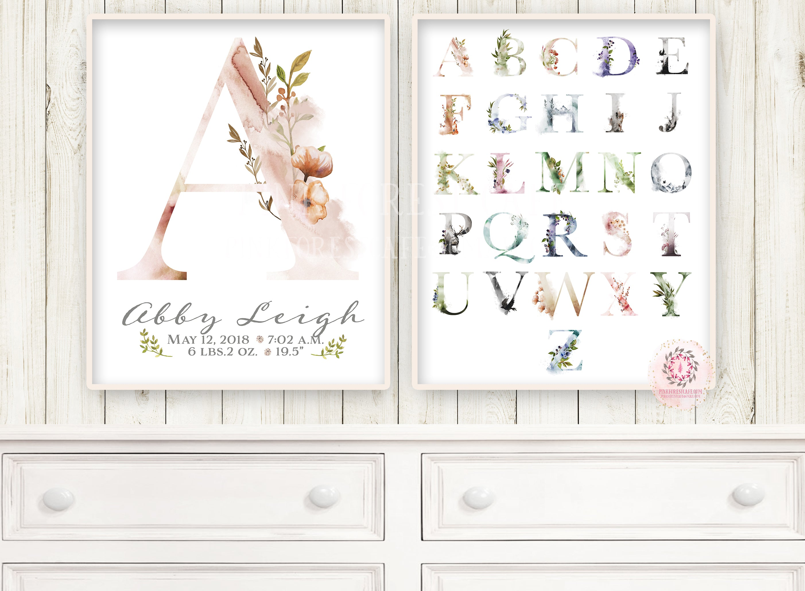 2 Ethereal Baby Name Monogram Initial Personalized Wall Art Print Alphabet ABC Sampler Initials Birth Stats Announcement Gift Watercolor Splash Floral Baby Nursery Newborn Keepsake Custom Customized Printable Decor