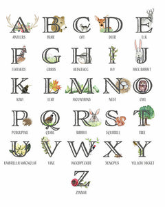 Abc Woodland Alphabet Sampler Baby Nursery Wall Art Print