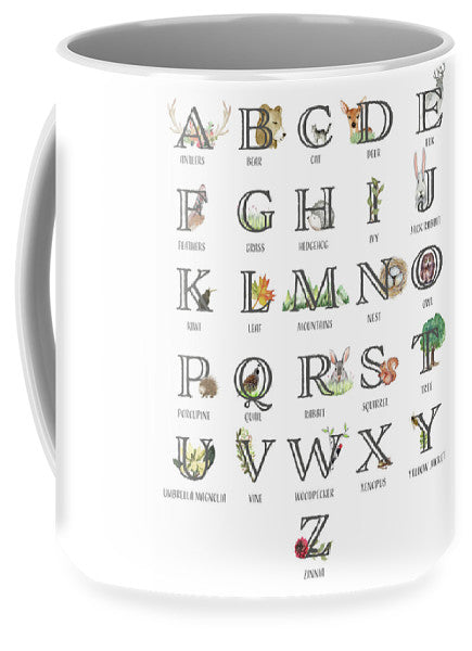Abc Woodland Alphabet Sampler - Coffee Mug Cup