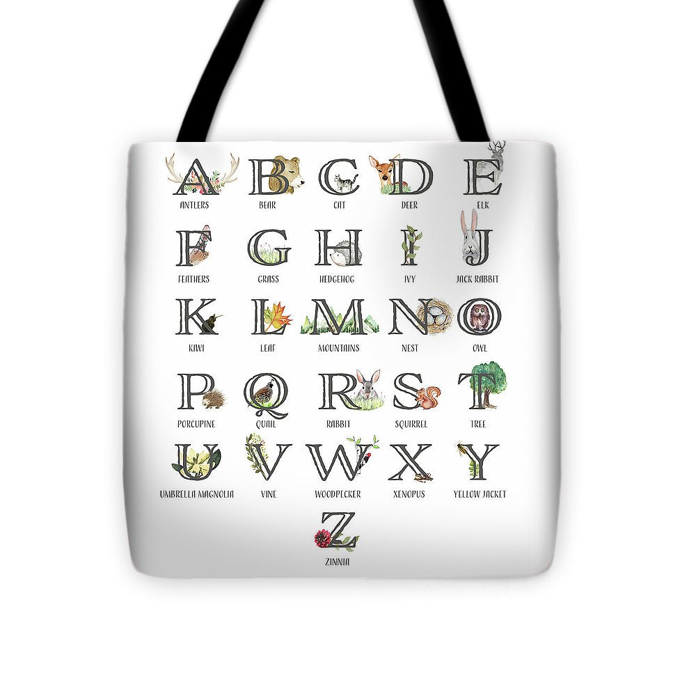 Abc Woodland Alphabet Sampler - Baby Nursery Tote Diaper Bag