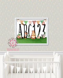 ABC 123 Alphabet Bear Woodland Printable Print Wall Art Watercolor Baby Nursery Decor