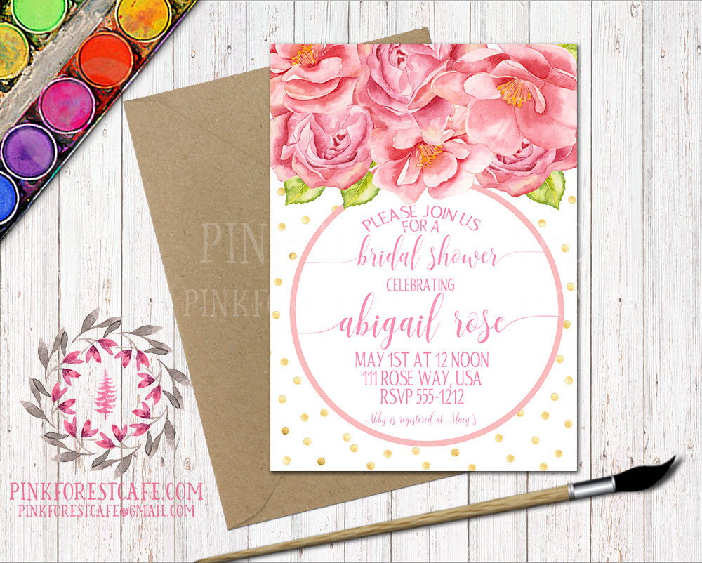 Pink Roses Birthday Party Baby Bridal Shower Birthday Party Printable Invitation Invite