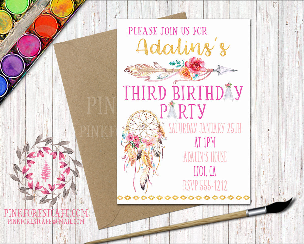 Boho Tribal Bohemian Girl Birthday Party Baby Bridal Shower Printable Invitation Invite Announcement
