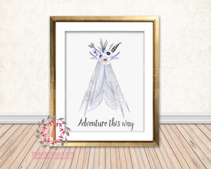 Lace Teepee Wall Art Print Bohemian Adventure This Way Watercolor Boho Woodland Baby Nursery Printable Decor