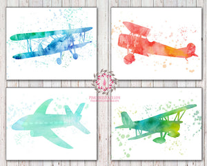 4 Watercolor Airplanes Airplane Plane Printable Print Prints Wall Art Nursery Decor