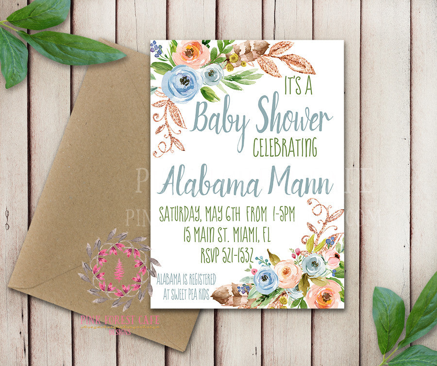 Baby Bridal Shower Birthday Party Invites Wedding Invitation Save The Date Announcement Invite Feathers Tribal Woodland Watercolor Floral Rustic Printable Art Stationery Card