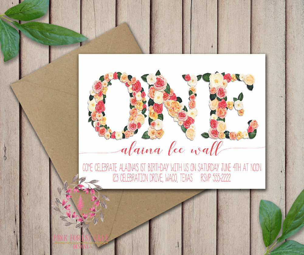 Baby Girl First 1st ONE Floral Birthday Party Invitation Announcement Invite Printable Art Stationery Card