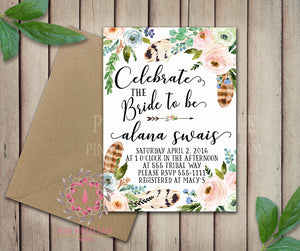 Celebrate The Bride Bridal Shower Birthday Party Wedding Baby Shower Invitation Save The Date Announcement Invite Feathers Tribal Woodland Watercolor Floral Rustic Printable Art Stationery Card