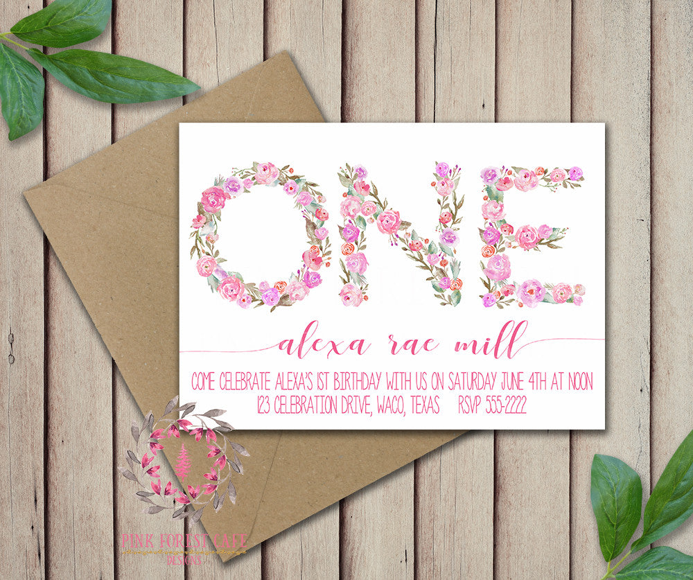 Baby Girl First 1st ONE Watercolor Floral Birthday Party Invitation Announcement Invite Printable Art Stationery Card