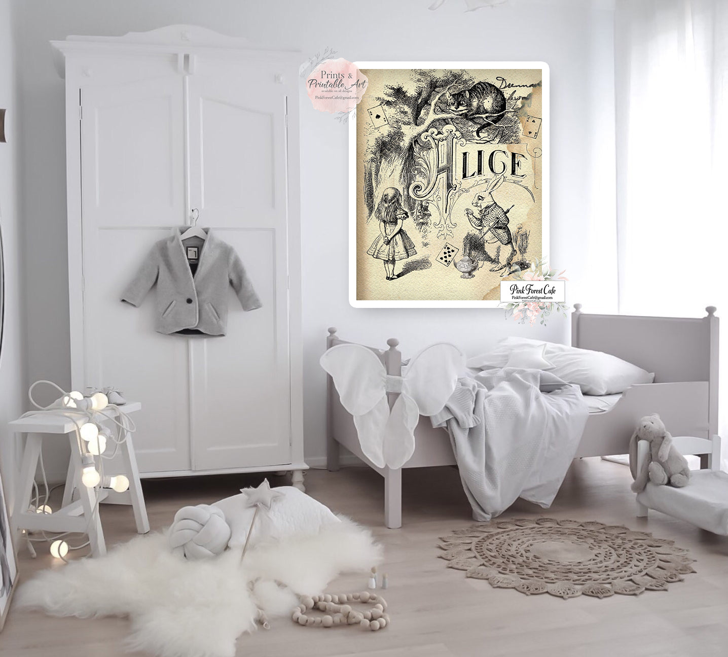 Alice In Wonderland Wall Art Print Vintage White Rabbit Cheshire Cat N Pink Forest Cafe