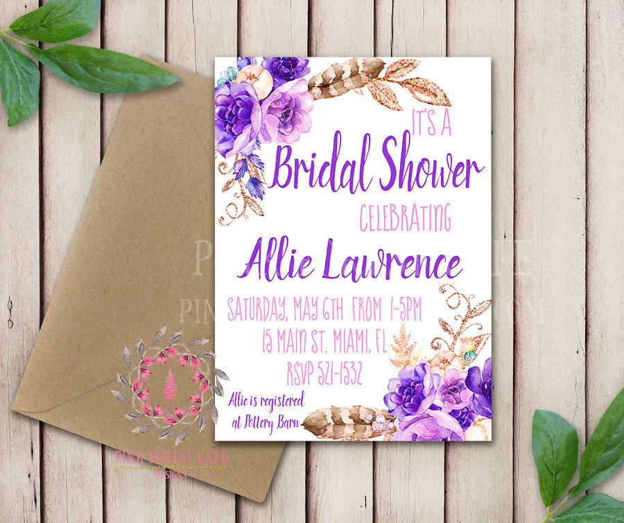 Baby Bridal Shower Birthday Party Invites Purple Wedding Invitation Save The Date Announcement Invite Feathers Tribal Woodland Watercolor Floral Rustic Printable Art Stationery Card