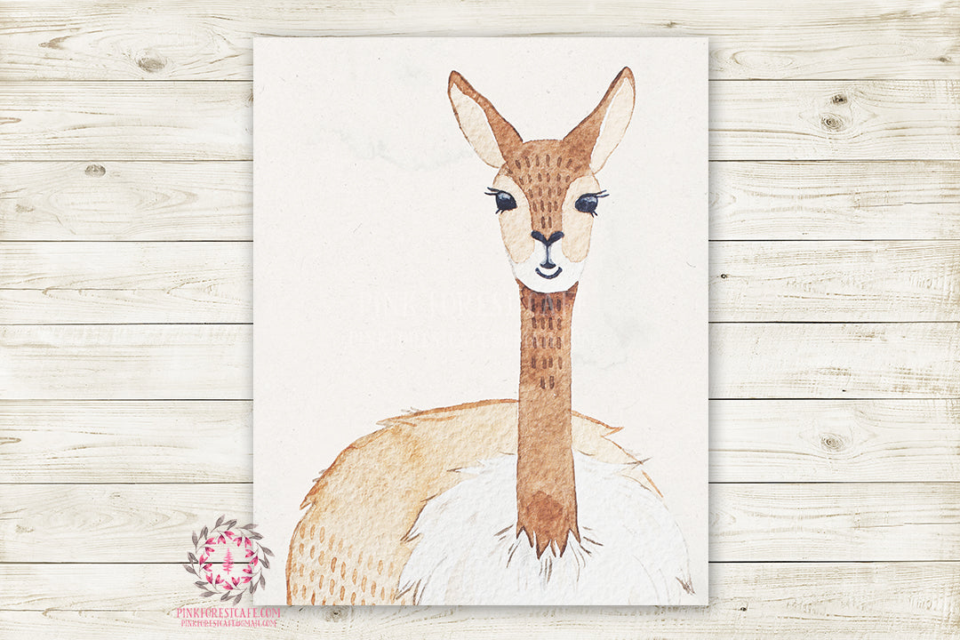 Alpaca Llama Watercolor Baby Nursery Wall Art Print Kids Room Playroom Poster Printable Home Decor
