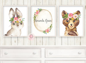 3 Boho Bunny Rabbit Bear Baby Name Wall Art Print Woodland Nursery Baby Girl Floral Room Set Lot Watercolor Personalized Prints Printable Decor
