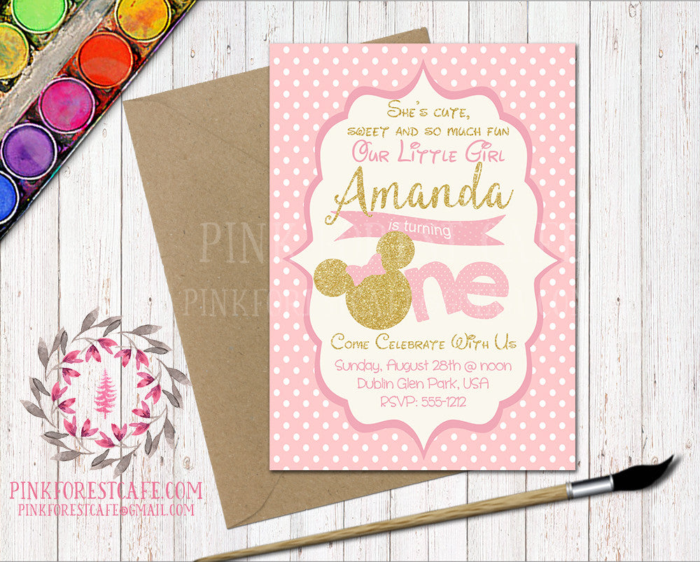 Minnie Mouse 1st Birthday Pink Disney Birthday Party Printable Invitation Invite