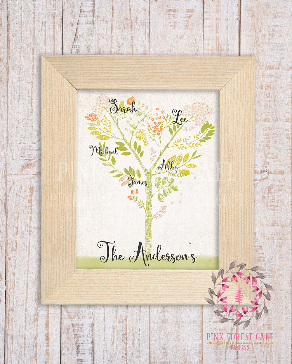 Family Tree Watercolor Wall Art Print Woodland Names Last Name Printable Home Decor