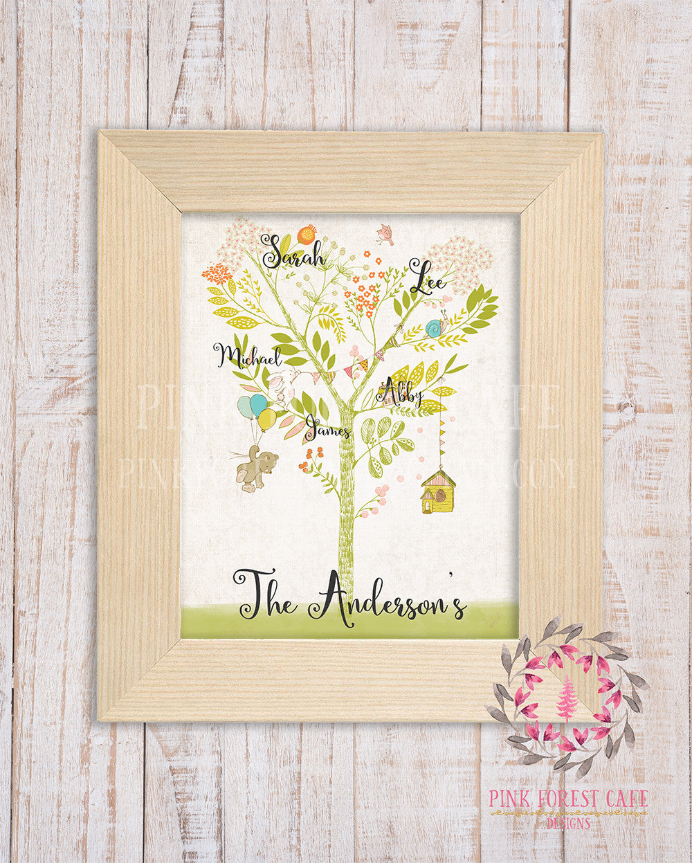 Family Tree Watercolor Woodland Names Last Name Printable Print Wall Art Home Decor