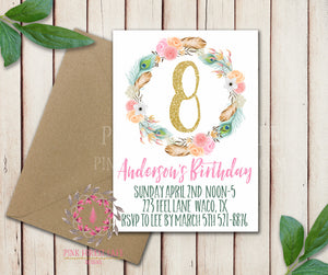 Baby Girl 1st 2nd 3rd 4th 5th ANY NUMBER Feather Boho Garden Floral Birthday Party Invitation Announcement Invite Watercolor Printable Art Stationery Card