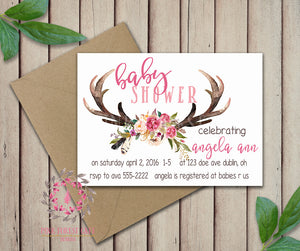 Baby Bridal Bride Shower Birthday Party Deer Antlers Wedding Invitation Save The Date Announcement Invite Feathers Tribal Woodland Watercolor Floral Rustic Printable Art Stationery Card