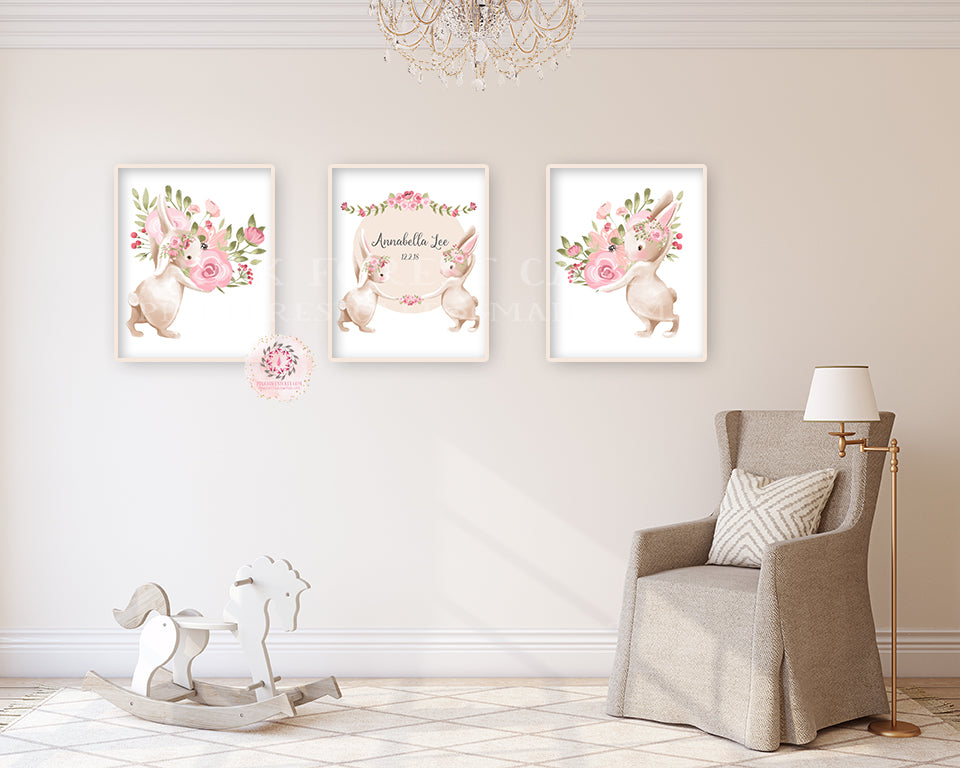 3 Bunny Rabbit Personalized Baby Name Wall Art Print Birth Stats Woodland Boho Nursery Baby Girl Room Set Lot Prints Printable Decor