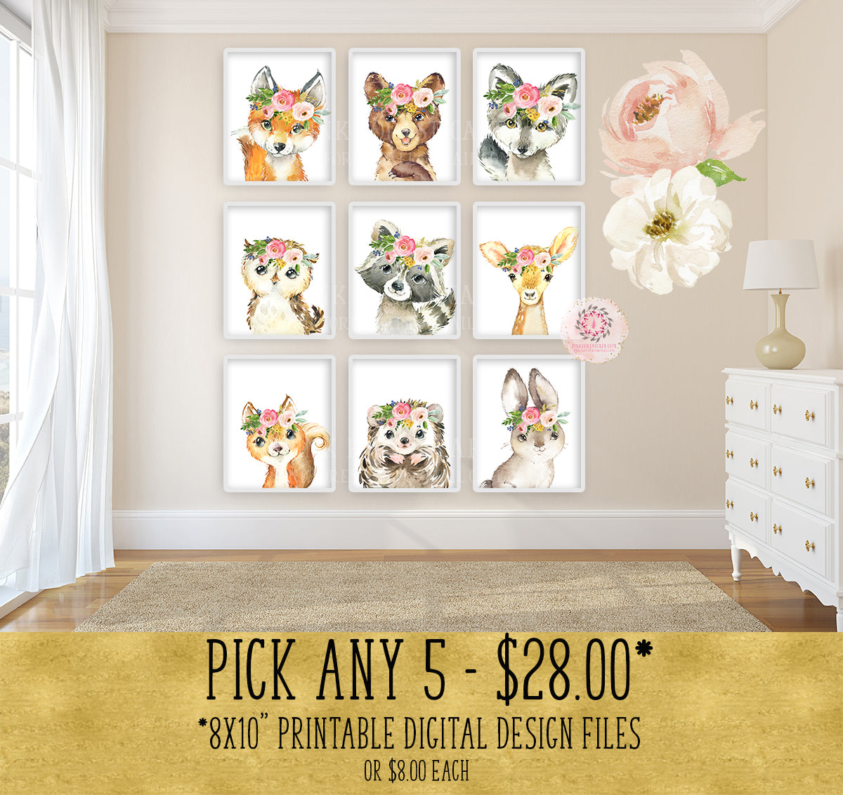 5 - Choose From 9 Boho Fox Bear Deer Bunny Wall Art Print Woodland Floral Nursery Baby Girl Room Hedgehog Wolf Squirrel Owl Raccoon Blush Floral Bohemian Watercolor Set Prints Printable Decor