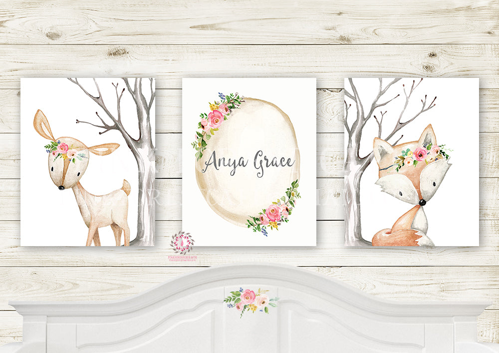 3 Deer Fox Personalized Baby Name Birth Stats Wall Art Print Printable Woodland Boho Nursery Baby Girl Room Set Lot Prints Decor