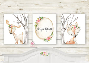 Deer Fox Boho Baby Name Wall Art Prints Nursery Woodland Girl Baby Kids Room Bedroom Decor Print Set Of 3