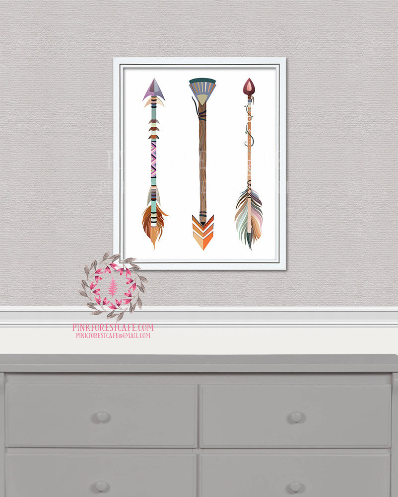 Boho Chic Tribal Woodland Arrows Feathers Printable Print Wall Art Nursery Home Decor