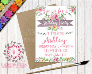 Watercolor Floral Girl Birthday Party Baby Bridal Shower Printable Invitation Invite Announcement
