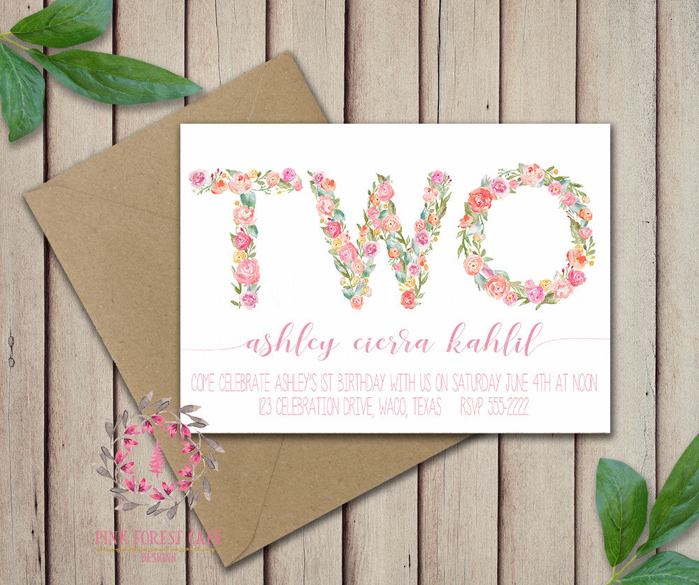 Baby Girl Second 2nd TWO Watercolor Floral Birthday Party Invitation Announcement Invite Printable Art Stationery Card