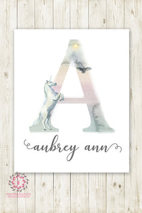 Unicorn Ethereal Boho Shabby Chic Baby Name Wall Art Print Letter A Nursery Personalized Watercolor Floral Printable Decor