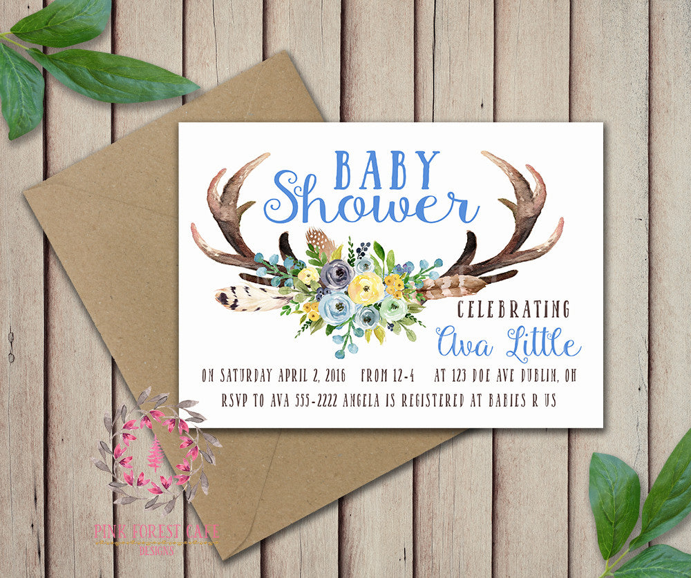 Baby Boy Invite Invitation Blue Antlers Shower Birthday Party Deer Wedding Bridal Save The Date Announcement Feathers Tribal Woodland Watercolor Floral Rustic Printable Art