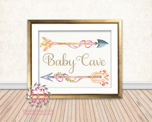 Baby Cave Boho Arrows Tribal Woodland Arrow Girl Room Watercolor Printable Wall Art Nursery Print Decor