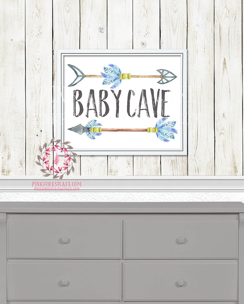 Baby Cave Boho Arrows Tribal Woodland Arrow Boy Room Watercolor Printable Wall Art Nursery Print Decor