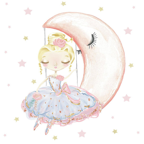 Ballerina Sitting On A Moon Stars - Art Print