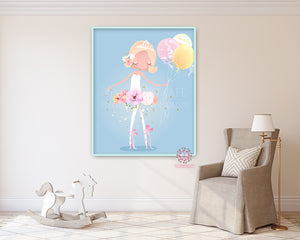 Ballerina Baby Girl Nursery Wall Art Print Ethereal Ballet Dancer Whimsical Bohemian Floral Balloons Minimalist Printable Decor
