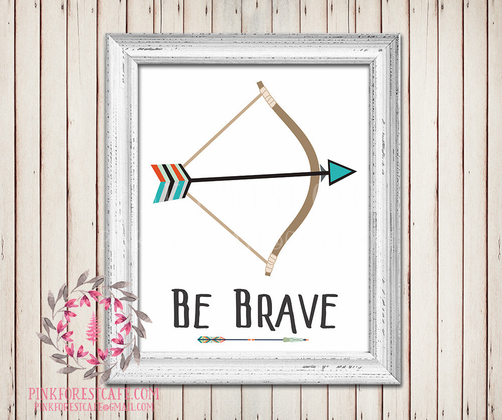 Be Brave Bow Arrow Watercolor Printable Wall Art Baby Boy Tribal Rustic Woodland Nursery Home Decor