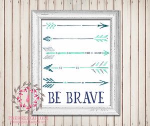Be Brave Arrow Watercolor Printable Wall Art Baby Boy Tribal Rustic Woodland Arrows Nursery Home Decor