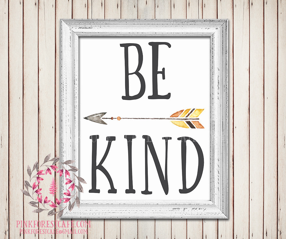 Be Kind Tribal Arrow Watercolor Woodland Printable Wall Art Baby Boy Nursery Home Decor
