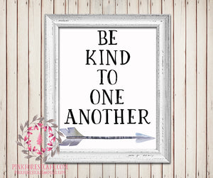 Be Kind To One Another Tribal Arrow Watercolor Woodland Printable Wall Art Baby Nursery Home Decor