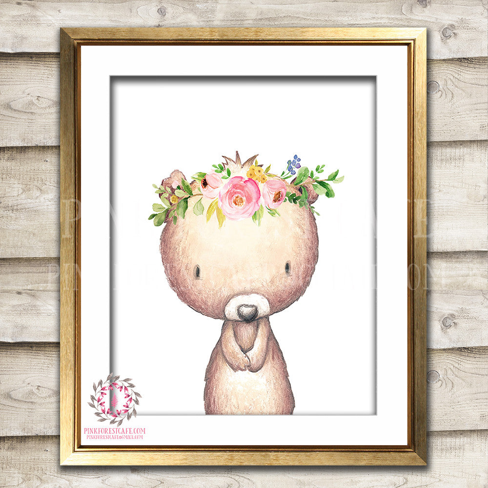 Boho Bohemian Bear Woodland Printable Wall Art Print Garden Floral Nursery Baby Girl Room Decor