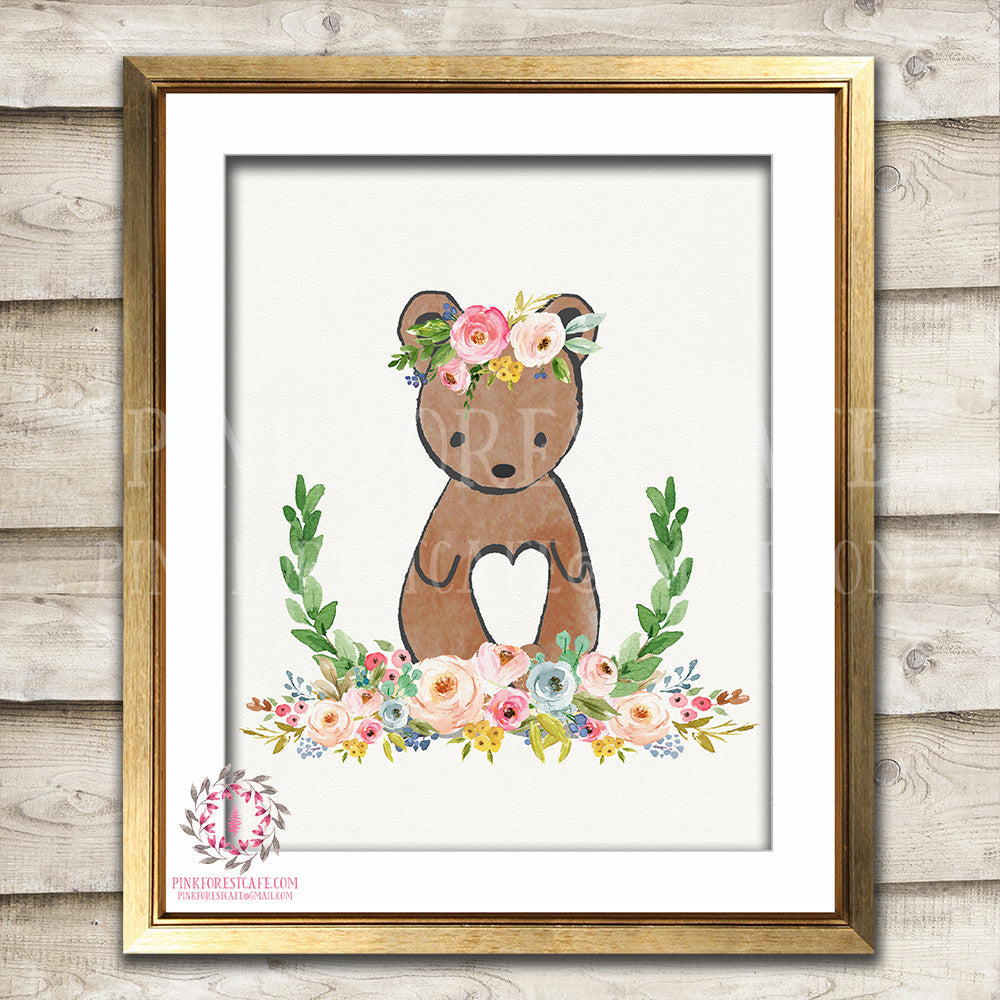 Bear Woodland Boho Bohemian Floral Nursery Baby Girl Room Printable Print Wall Art Decor