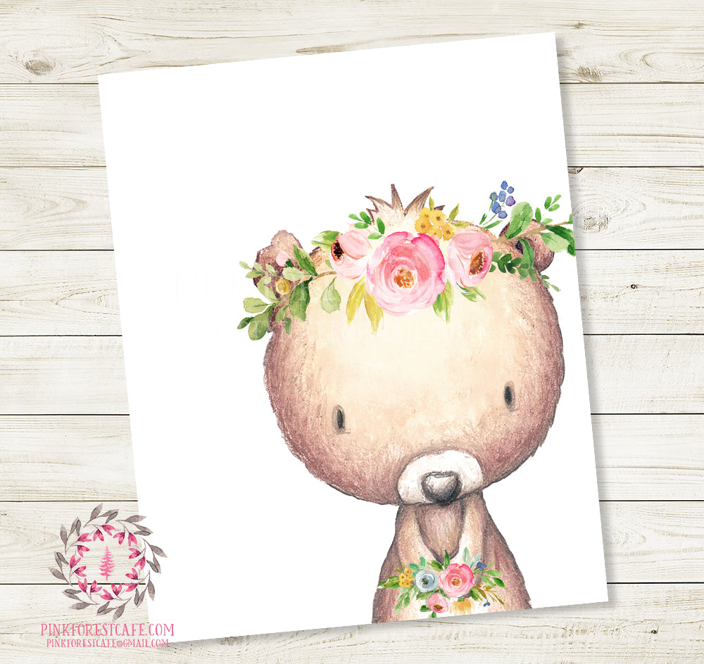 Boho Bear Wall Art Print Floral Nursery Baby Girl Room Watercolor Woodland Bohemian Printable Decor