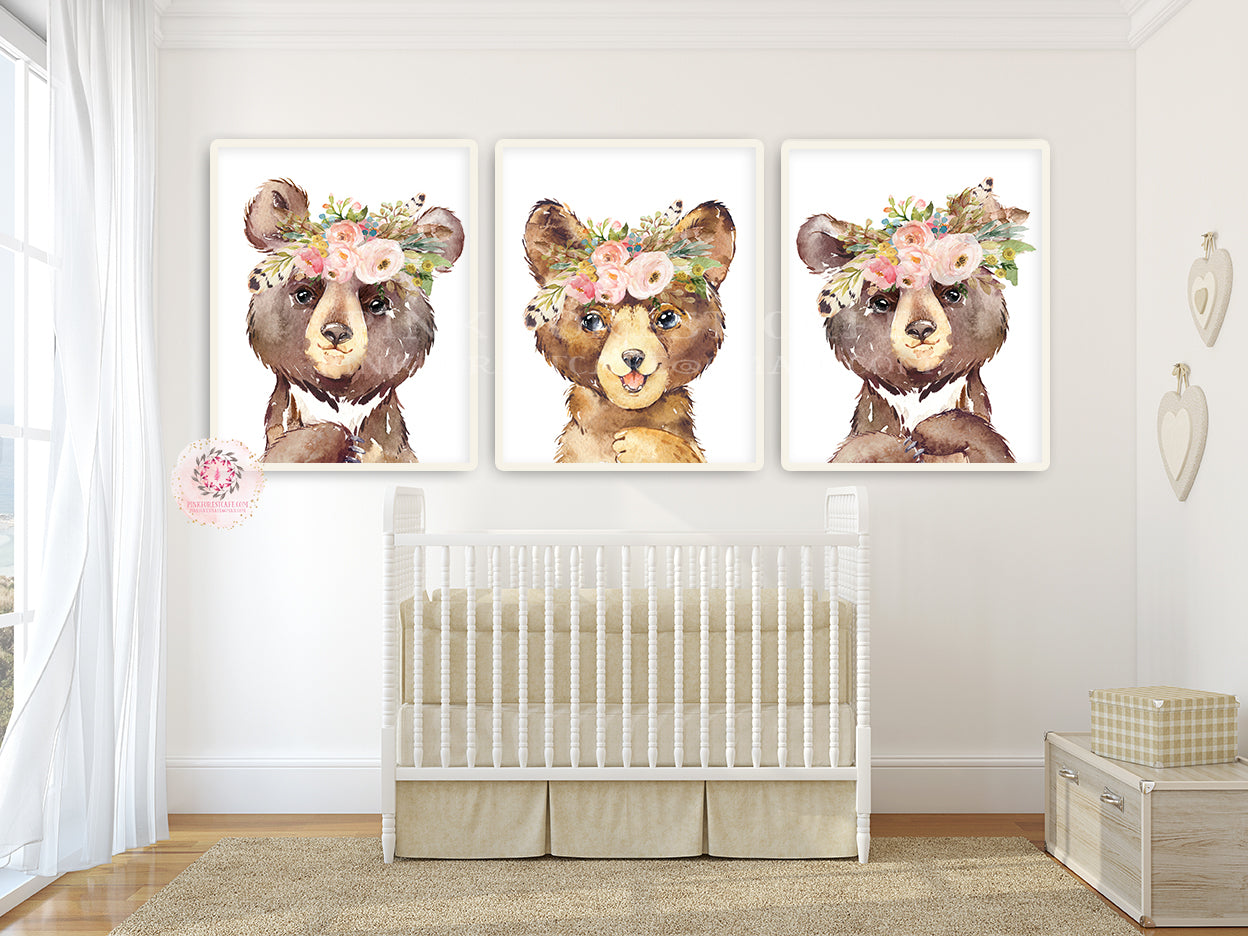 3 Boho Bear Wall Art Print Woodland Feather Nursery Baby Girl Room Blush Floral Bohemian Watercolor Set Prints Printable Decor