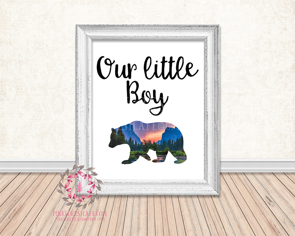 Our Little Boy Bear Mountain Scene Rustic Woodland Printable Wall Art Print Nursery Home Decor