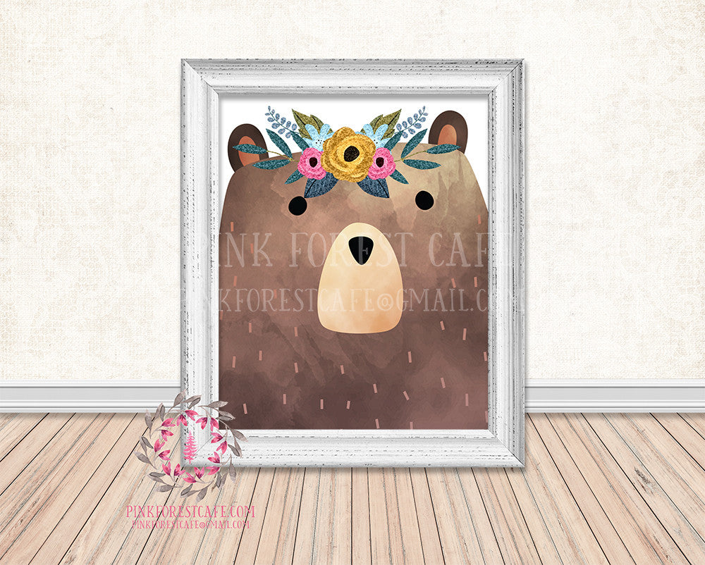 Bear Woodland Boho Floral Nursery Baby Girl Printable Print Wall Art Decor