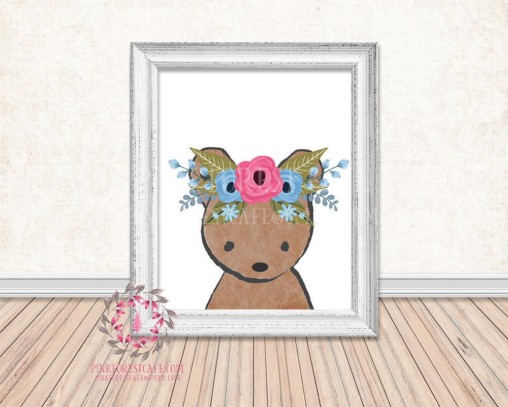 Bear Woodland Boho Watercolor Floral Nursery Baby Girl Printable Print Wall Art Decor